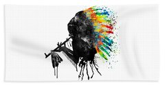 Indian Silhouette With Colorful Headdress Beach Towel