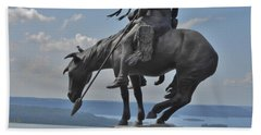 Indian Statue Infinity Pool Beach Towel by Julie Grace