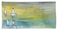 Indian Summer Over The Pond Beach Towel by Michal Mitak Mahgerefteh