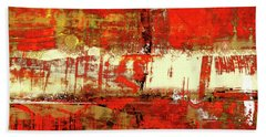 Indian Summer - Red Contemporary Abstract Beach Towel by Modern Art Prints