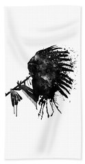 Beach Towel featuring the mixed media Indian With Headdress Black And White Silhouette by Marian Voicu