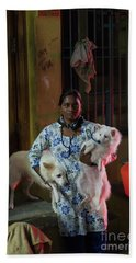 Beach Towel featuring the photograph Indian Woman And Her Dogs by Mike Reid