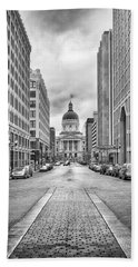 Beach Towel featuring the photograph Indiana State Capitol Building by Howard Salmon