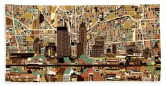 Indianapolis Skyline Abstract 2 Beach Towel by Bekim Art