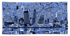 Indianapolis Skyline Abstract 7 Beach Towel by Bekim Art