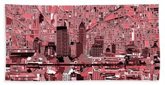 Indianapolis Skyline Abstract 8 Beach Towel by Bekim Art