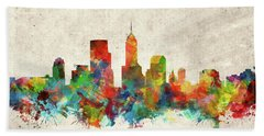 Indianapolis Skyline Watercolor 2 Beach Towel by Bekim Art