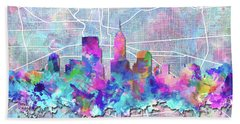 Indianapolis Skyline Watercolor 5 5 Beach Towel by Bekim Art
