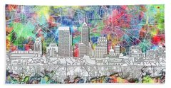 Indianapolis Skyline Watercolor 8 Beach Towel by Bekim Art