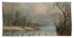 Indians Playing Lacrosse On The Ice, 1859 Beach Towel