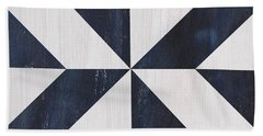 Beach Towel featuring the painting Indigo And Blue Quilt by Debbie DeWitt