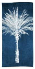 Indigo And White Palm Tree- Art By Linda Woods Beach Towel