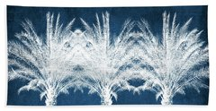 Indigo And White Palm Trees- Art By Linda Woods Beach Towel