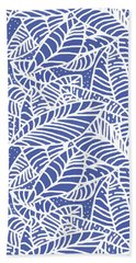 Indigo Batik Leaves Medium Beach Towel