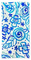 Beach Towel featuring the painting Indigo Blooms by Monique Faella
