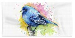 Indigo Bunting Blue Bird Watercolor Beach Towel by Olga Shvartsur