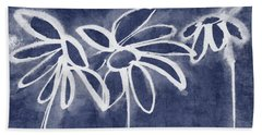Beach Sheet featuring the painting Indigo Floral 1- Art By Linda Woods by Linda Woods