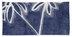 Beach Sheet featuring the mixed media Indigo Floral 2- Art By Linda Woods by Linda Woods