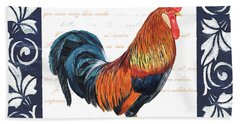 Indigo Rooster 1 Beach Sheet by Debbie DeWitt