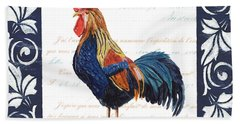 Indigo Rooster 2 Beach Sheet by Debbie DeWitt