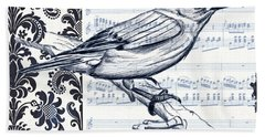 Indigo Vintage Songbird 1 Beach Towel