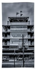 Indy 500 Pagoda - Black And White Beach Towel
