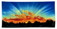 Infinite Rays From An Otherworldly Sunset Beach Towel