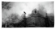 Beach Towel featuring the photograph Infrared Gothic Raven On Gate Black And White Infrared Print - Solitude - Gothic Raven Infrared Art  by Kathy Fornal