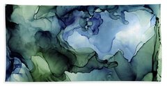 Ink Abstract Painting Blues Greens Beach Towel