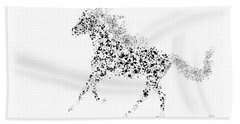 Beach Towel featuring the drawing Ink Splattered Stallion by Nick Gustafson