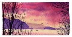 Beach Towel featuring the painting Inland Sea Islands by James Williamson