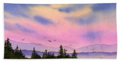 Beach Towel featuring the painting Inland Sea Sunset by James Williamson