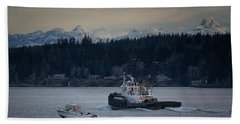 Beach Towel featuring the photograph Inlet Crusader by Randy Hall