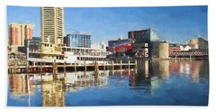 Inner Harbor Reflections  Beach Towel