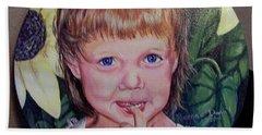 Innocence Under A Sunflower Beach Sheet
