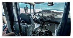 Inside The Etna Tour Unimog Beach Sheet by Patrick Boening
