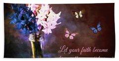 Inspirational Flower Art Beach Sheet