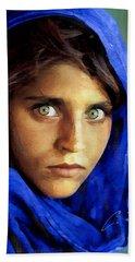 Inspired By Steve Mccurry's Afghan Girl Beach Towel