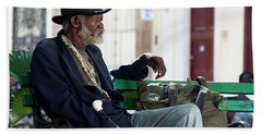 Interesting Cuban Gentleman In A Park On Obrapia Beach Towel by Charles Harden