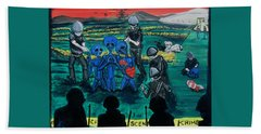 Beach Towel featuring the painting Intergalactic Misunderstanding by Similar Alien