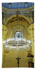 Interior Evening View Of St. Nicholas Church In Prague Beach Towel