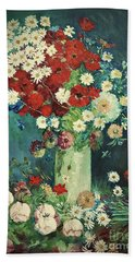 Interpretation Of Van Gogh Still Life With Meadow Flowers And Roses Beach Sheet