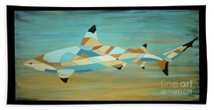 Into The Blue I Shark Painting Beach Towel
