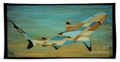 Into The Blue Shark Painting Beach Sheet