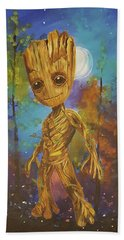 Into The Eyes Of Baby Groot Beach Towel