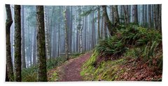 Into The Misty Forest Beach Towel by Peggy Collins