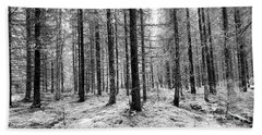Into The Monochrome Woods Beach Towel