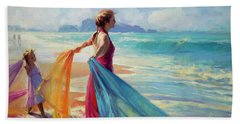 Beach Towel featuring the painting Into The Surf by Steve Henderson