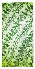 Beach Towel featuring the drawing Into The Thick Of It, Green by Monique Faella