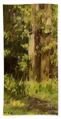 Beach Towel featuring the painting Into The Woods by Laurie Rohner